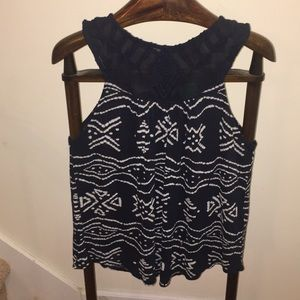 Lucky Brans tank size large navy and white